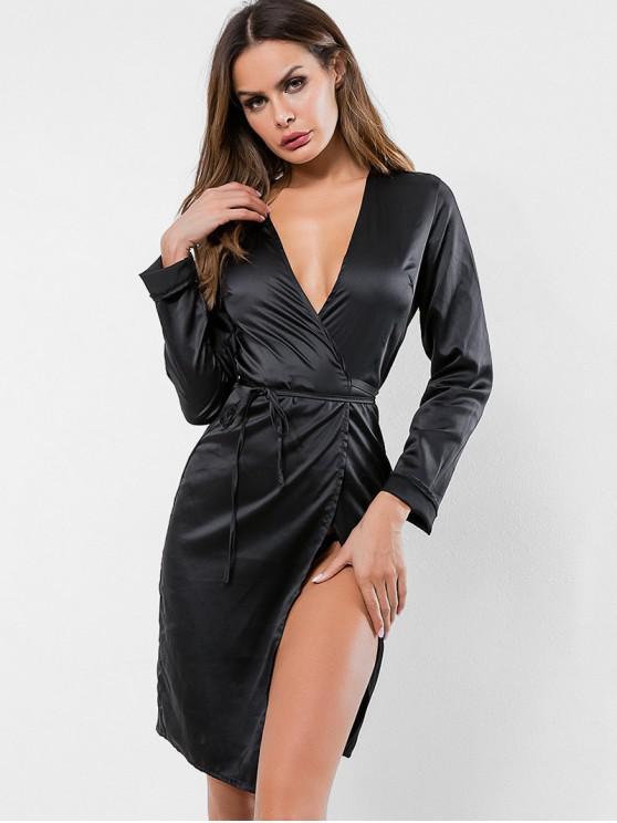 fancy Long Sleeves Satin Wrap Dress - BLACK L