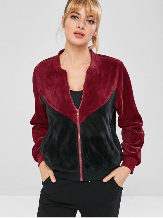 affordable ZAFUL Velvet Color Block Jacket - BLACK M