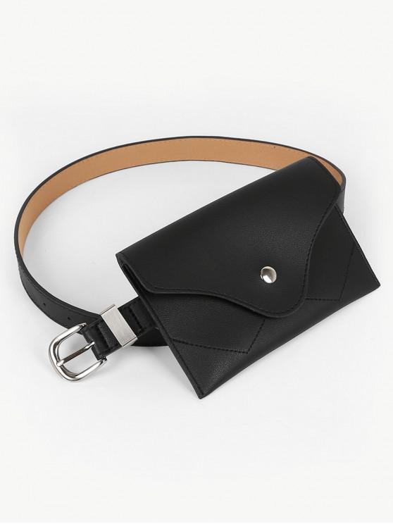fancy Vintage Faux Leather Fanny Pack Belt Bag - BLACK
