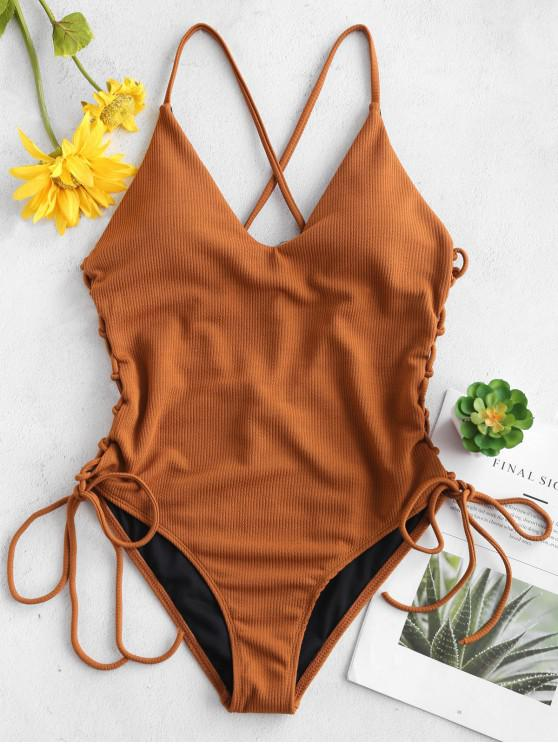 lady Lace-up Cross High Cut Swimsuit - BROWN M