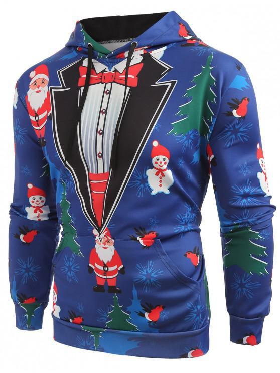 trendy Christmas Tree Santa Printed Drawstring Hoodie - SLATE BLUE 2XL
