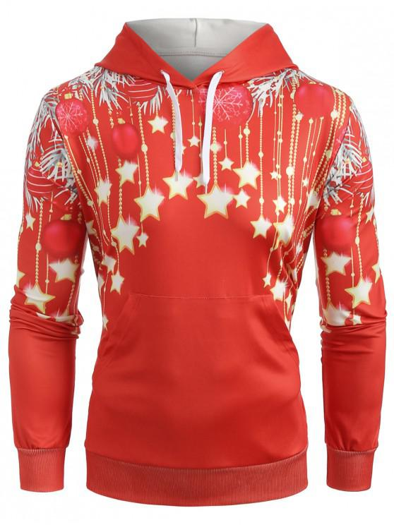 unique Christmas Stars Print Pullover Hoodie - RED L