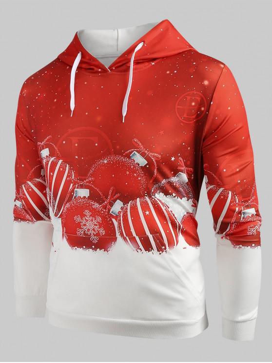 online Drawstring Christmas Ball Print Hoodie - RED L