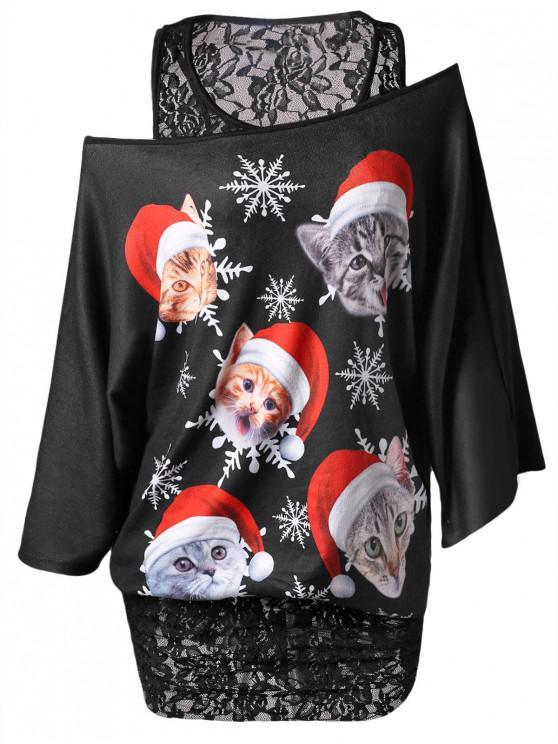 Plus Size Lace Insert Faux Twinset Christmas T-shirt - Negru 1X