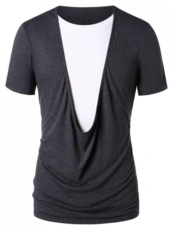 T-shirt Tordu en Blocs de Couleurs - Gris XL