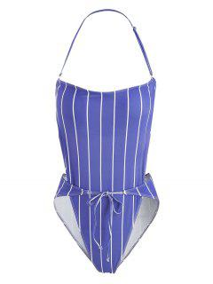 ZAFUL Striped High Leg One Piece Swimsuit - Light Slate Blue M