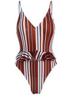 ZAFUL Striped Ruffle Cami Swimsuit - Multi-a S