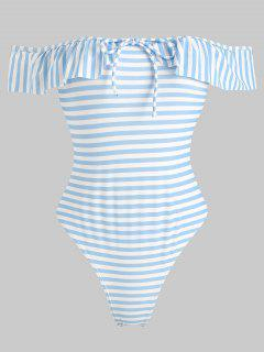 Striped Ruffle Off Shoulder Swimsuit - Light Sky Blue M