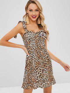 Vestido Acolchado Con Estampado De Leopardo En El Hombro De Tie - Leopardo M