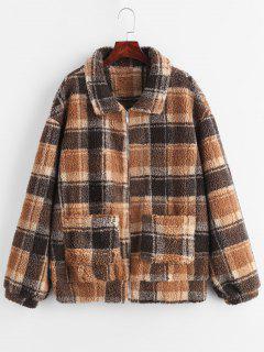 ZAFUL Zip Up Fluffy Plaid Teddy Winter Coat - Coffee S