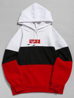 ZAFUL Letter Embroidery Colorblock Fleece Hoodie - Red S