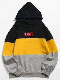 ZAFUL Letter Embroidery Colorblock Fleece Hoodie - Yellow S