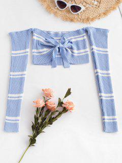 Stripes Tie Front Off Shoulder Sweater - Sea Blue