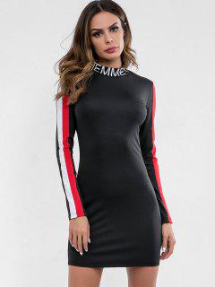 Letter Print Striped Bodycon Dress - Black M