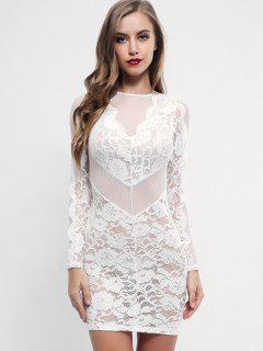 Semi Sheer Bodycon Lace Dress - White S