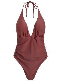 ZAFUL Ruched Halter One Piece Swimsuit - Rosy Finch M