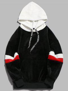Sweat-Shirt à Capuche Pullover En Velours Avec Rayures De Couleurs Contrastées  - Noir 3xl