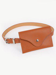 Vintage Faux Leather Fanny Pack Belt Bag - Brown