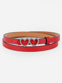 Vintage Double Heart Buckle Skinny Belt - Red