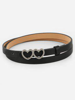 Vintage Double Heart Buckle Skinny Belt - Black