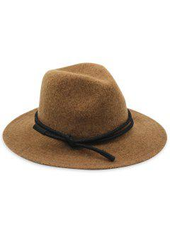 Solid Color Foldable Jazz Hat - Brown