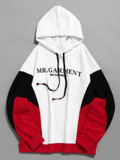Contract Color Paint Splatter Pullover Hoodie - White L
