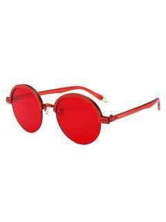 Stylish Hollow Out Leg Semi-Rimless Sunglasses - Red