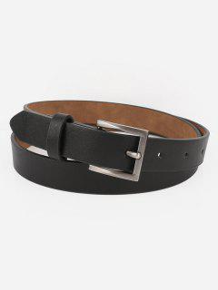 Casual Metal Buckle Artificial Leather Belt - Black