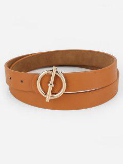 Alloy Round Buckle Faux Leather Waist Belt - Brown