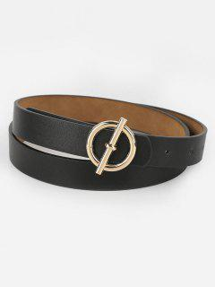 Alloy Round Buckle Faux Leather Waist Belt - Black