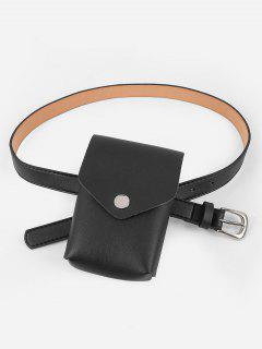 Mini Fanny Pack Faux Leather Waist Belt Bag - Black