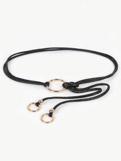 Hollow Out Ring Adjustable Dress Belt - Black