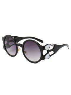 Retro Hollow Out Frame Round Sunglasses - Gray