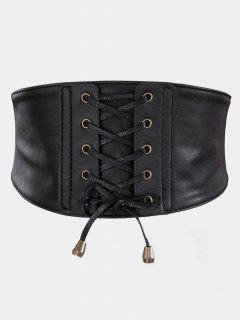 Vintage Drawstring PU Leather High Waist Belt - Black