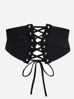 Stylish Drawstring Zipper Corset Waist Belt - Black