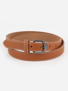 Metal Buckle Line Embroidery Casual Belt - Brown