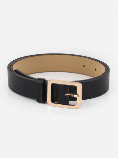 Alloy Square Buckle Faux Leather Waist Belt - Black