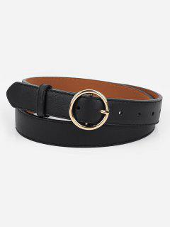 Alloy Circle Buckle Faux Leather Belt - Black