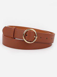 Alloy Circle Buckle Faux Leather Belt - Brown