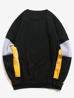 Color Block Patchwork Loose Sweatshirt - Black M