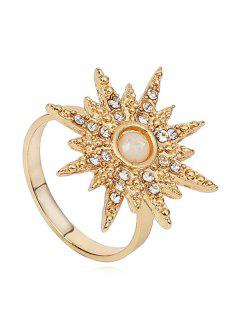 Rhinestone Sun Design Ring - Gold