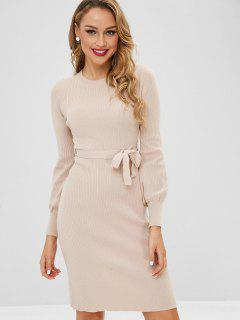 Lantern Sleeves Belted Sweater Dress - Apricot