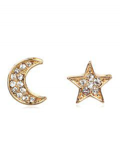 Rhinestone Star Moon Shape Earrings - Gold