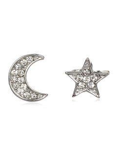 Rhinestone Star Moon Shape Earrings - Silver