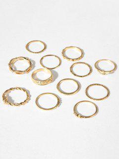 Carved Hollow Out Alloy Rings Set - Gold