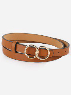 Vintage Infinity Rounded Buckle Faux Leather Belt - Camel Brown
