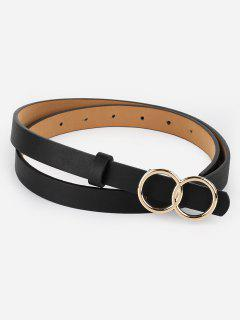 Vintage Infinity Rounded Buckle Faux Leather Belt - Black