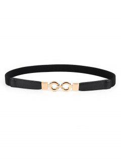 Retro Ring Buckle Embellished Stretch Belt - Black