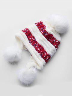Winter Fuzzy Ball Decorative Warm Hat - White