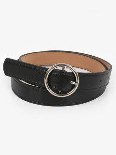 Metal Circle Buckle Faux Leather Belt - Black